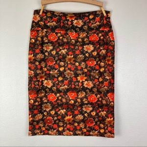Lularoe floral pencil skirt size large red pattern